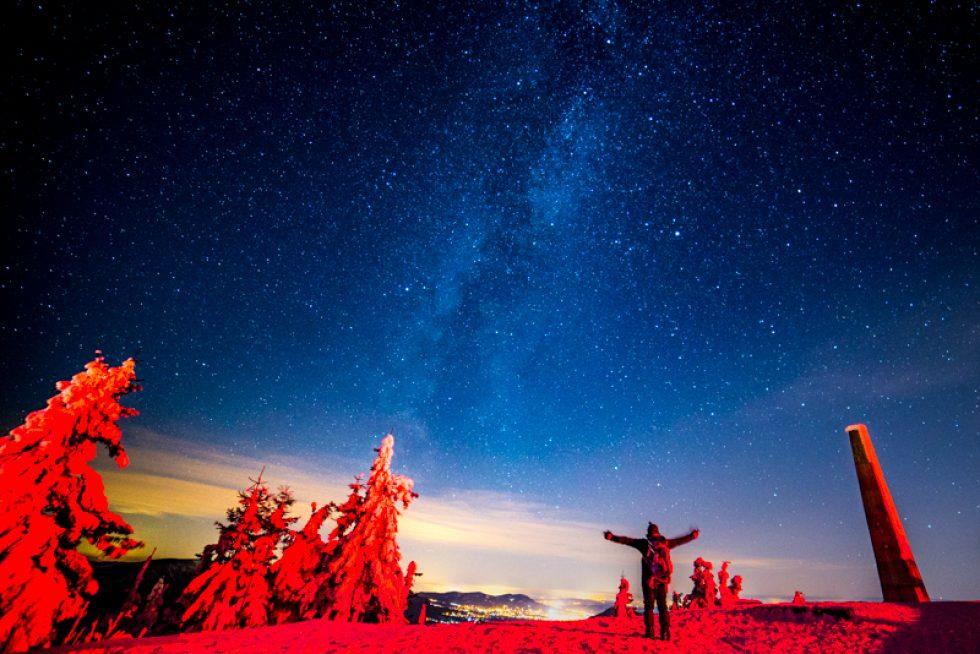 Západ slunce a Mléčná dráha na Lysé hoře – 07. 12. 2017